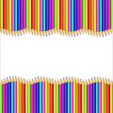 Vector border made of multicolored wooden pencils on white. Vector square border made of multicolored wooden pencils isolated on white background. Wavy creative vector illustration
