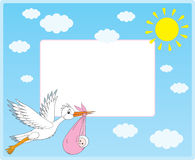 Vector border with stork and newborn Stock Photos