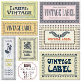 7 vector border style labels on the basis of brushes. Border style labels on different versions on the basis of brushes for decoration and design royalty free illustration