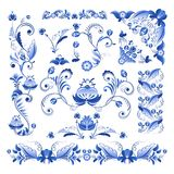 Vector borders, corners and other floral elements in Gzhel style Stock Image