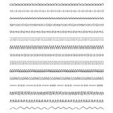 Vector borders and dividers. Collection of pattern brushes - borders Stock Images