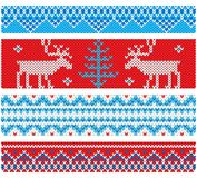 New Year knitted borders with traditional ornaments Stock Images