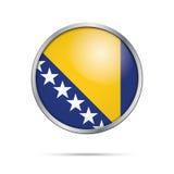 Vector Bosnian flag Button. Bosnia and Herzegovina flag in glass Stock Image