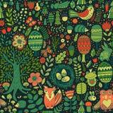 Vector bosontwerp, bloemen naadloos patroon met bosdieren: kikker, vos, uil, konijn, egel Het kan voor prestaties van het ontwerp Stock Foto
