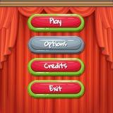 Vector botões permitidos e deficientes do estilo dos desenhos animados contornado com texto para o jogo ilustração do vetor