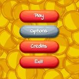 Vector botões permitidos e deficientes do estilo dos desenhos animados para o projeto de jogo ilustração stock
