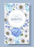Blue anemone banner stock illustration