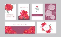 Vector botanical horizontal, vertical banners set with pink peony,aster flowers. Romantic design for natural cosmetics stock illustration