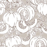 Vector botanical pattern with pumpkins, flowers and leaves. Royalty Free Stock Image