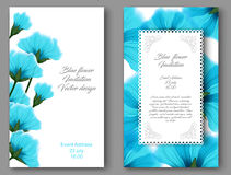 Vector botanical vertical banners with blue flower. Design for natural cosmetics, health care products Stock Photos