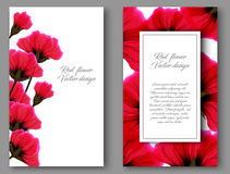 Vector botanical vertical banners with red flower. Design for natural cosmetics, health care products Stock Photos