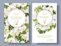 Orchid green white banners. Vector botanical vertical banners with tropical leaves, orchid flowers on white. Design for cosmetics, spa, health care products vector illustration
