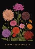 Vector botanische bloemenillustratie Gelukkige Leraars` s Dag dahlia's Stock Foto's