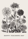Vector botanische bloemenillustratie Gelukkige Leraars` s Dag dahlia's stock illustratie