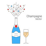Vector bottle of champagne explosion Royalty Free Stock Photo