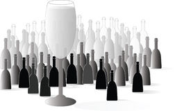 Vector bottle and glasses Champagne. Champagne: colorful bottle and glasses vector illustration