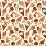 Vector boundless ice-cream pattern. Royalty Free Stock Image