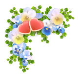 Vector bouquet flowers, hearts on white background Stock Image