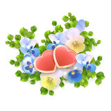 Vector bouquet flowers, hearts on white background Royalty Free Stock Photography