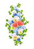 Vector bouquet flowers, hearts on white background Stock Photo