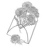 Vector bouquet with outline Aster flower, ornate leaf and bud in black in open craft envelope isolated on white background. Contour blooming Aster bunch for royalty free illustration