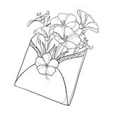 Vector bouquet with outline Flax plant or Linum in open craft envelope. Flower bunch, bud and leaf in black isolated on white. Vector bouquet with outline Flax stock illustration