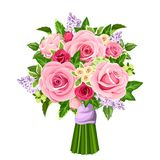 Vector bouquet of roses, lilac flowers and ivy leaves. Royalty Free Stock Photography