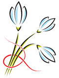Vector bouquet of spring flowers. Crocuses or snowdrops with a r Stock Photography