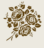 Vector bouquet of vintage roses silhouette Royalty Free Stock Photography