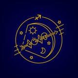 Vector bow and arrow or Sagittarius zodiac sign, logo, tattoo or illustration. royalty free illustration