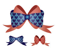 Vector of Bow with Blue Heart Stock Photography