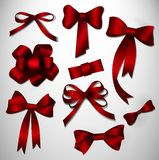 Vector bow collection. Red Royalty Free Stock Photography