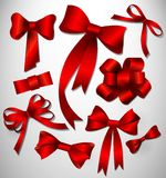 Vector bow collection. Red Stock Images
