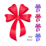 Vector bow set . Colors of present bows. Royalty Free Stock Photography