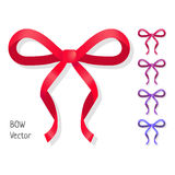 Vector bow set isolated. Colors of present bows. Royalty Free Stock Photography