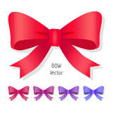 Vector bow set isolated. Colors of present bows. Stock Photos