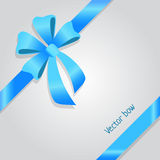 Vector Bow. Shiny Wide Blue Ribbons. Four Petals Royalty Free Stock Image