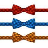 Vector Bow Tie Bowtie Set Isolated on White. Background Royalty Free Stock Photos