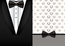 Vector bow tie tuxedo invitation design template Stock Photography