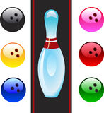 Vector bowling balls and bowling pin. Royalty Free Stock Photo