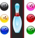 Vector bowling balls and bowling pin.  Royalty Free Stock Photo