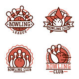 Vector bowling emblem and design element logotype template badge item design for sport league teams success equipment Royalty Free Stock Images