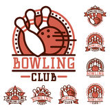 Vector bowling emblem and design element logotype template badge item design for sport league teams success equipment Stock Image