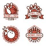 Vector bowling emblem and design element logotype template badge item design for sport league teams success equipment Stock Photos