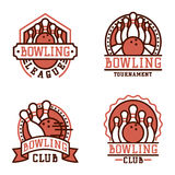 Vector bowling emblem and design element logotype template badge item design for sport league teams success equipment Royalty Free Stock Photography