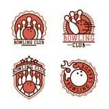 Vector bowling emblem and design element logotype template badge item design for sport league teams success equipment Stock Images