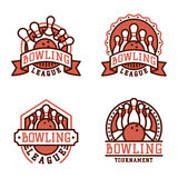 Vector bowling emblem and design element logotype template badge item design for sport league teams success equipment Stock Photos