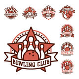 Vector bowling emblem and design element logotype template badge item design for sport league teams success equipment Stock Image