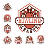 Vector bowling emblem and design element logotype template badge item design for sport league teams success equipment Royalty Free Stock Image
