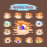 Vector bowling emblem design template badge item design for sport league teams success equipment champion illustration. Royalty Free Stock Photography